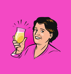 happy woman with a glass champagne vector image