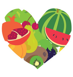 Heart consisting of fresh fruits vector