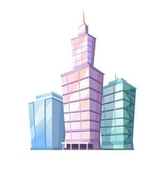 High cartoon skyscrapers isolated vector