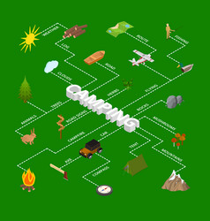 hiking in a park concept infographics 3d isometric vector image