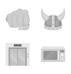 Hotel viking and other monochrome icon in cartoon vector