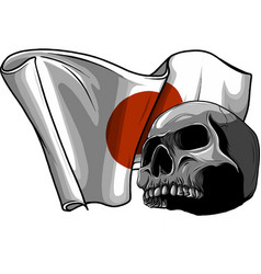 Human skull with japan flag vector