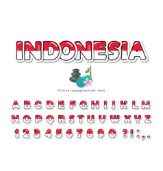 Indonesia cartoon font indonesian national flag vector