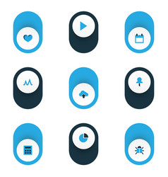 interface icons colored set with calculator vector image
