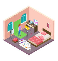 isometric home blogging teenager teenager vector image
