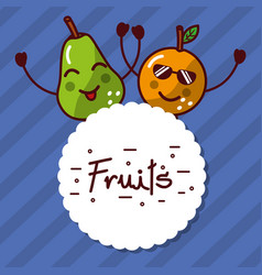 kawaii orange pear cartoon fruits label vector image