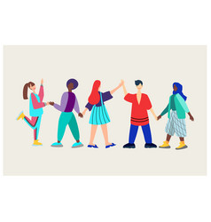 Lesbianstraightgaybisexualpeople hold hands vector