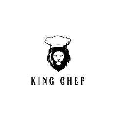 lion head logo with chef hat logo for restaurant vector image