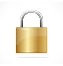 Locked padlock gold isolated vector