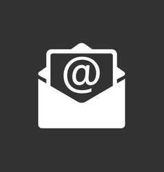 mail envelope icon isolated on black background vector image