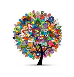 Mandala tree floral sketch for your design vector image
