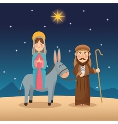 Mary and joseph cartoon design vector