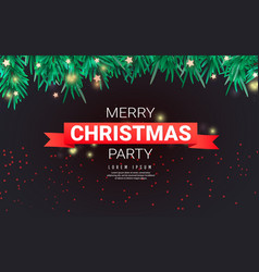 merry christmas party template with christmas vector image