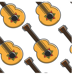 mexican guitar seamless pattern national musical vector image