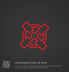 mill outline symbol red on dark background logo vector image