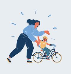 Mother teaching girl vector