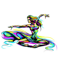 Multi-colored abstract image a beautiful girl vector