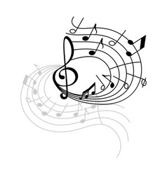 Music note and treble clef on swirling stave icon vector