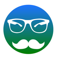 mustache and glasses sign white icon in vector image