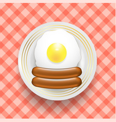 Natural egg and two realistic boiled sausages top vector