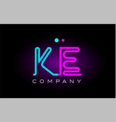 Neon lights alphabet ke k e letter logo icon vector
