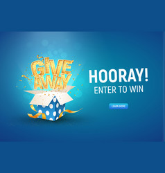 Open textured blue box with golden giveaway word vector