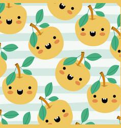 orange kawaii fruits pattern set on decorative vector image