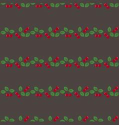 pair cherries seamless pattern on dark gray vector image