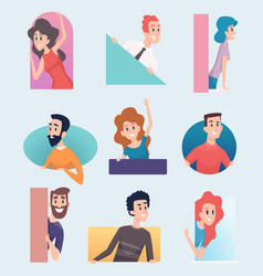 peeking out characters male and female looking vector image