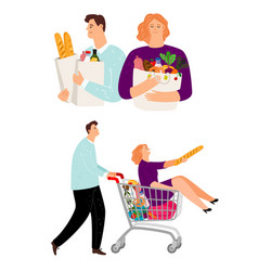 people with shopping cart man and woman vector image