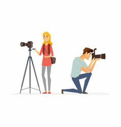Photographers - cartoon people characters vector
