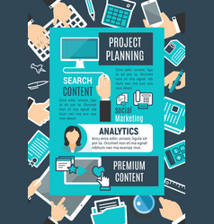 project planning internet search poster vector image