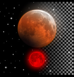 Realistic blood moon red and orange full moon vector