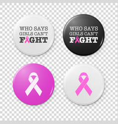 Realistic button badges with cancer theme vector