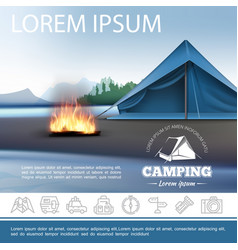 realistic camping beautiful template vector image