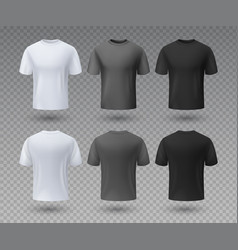 realistic male t-shirt white and black mockup vector image