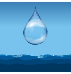 Realistic transparent water drop vector image