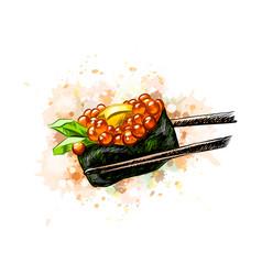 Red caviar gunkan sushi vector