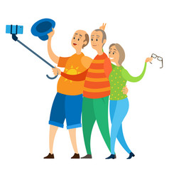 retired people rest on holiday fun pensioners trip vector image
