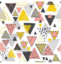 retro geometric hand drawn seamless pattern vector image