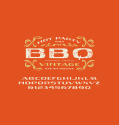 sans serif extended font and barbecue label vector image