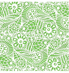 Seamless flower paisley lace pattern on green vector