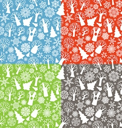 Seamless winter trees patterns vector