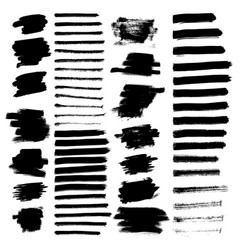 set different grunge brush strokes vector image
