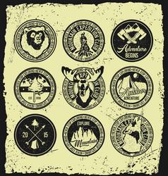 set of vintage camping logos retro signs vector image
