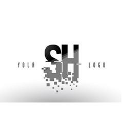 sh s h pixel letter logo with digital shattered vector image