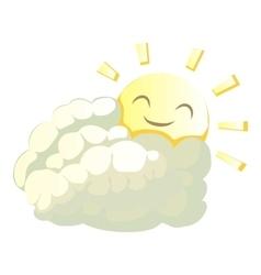 Sun behind cloud icon cartoon style vector