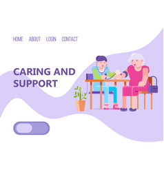 Support old people web landing banner character vector
