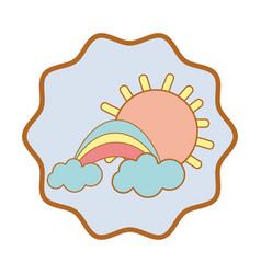 Symbol beauty rainbow with cloud and sun vector