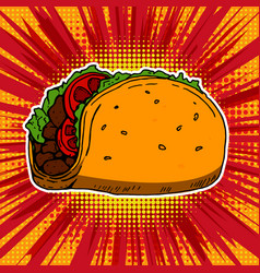 Taco on pop art style background vector